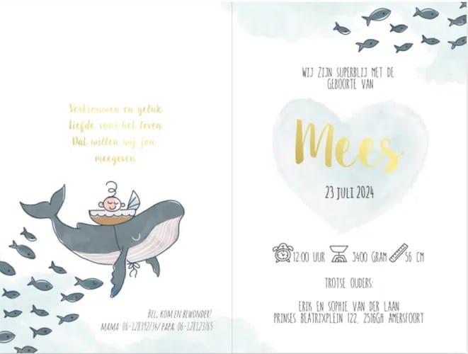 geboortekaartje met onderwater dieren