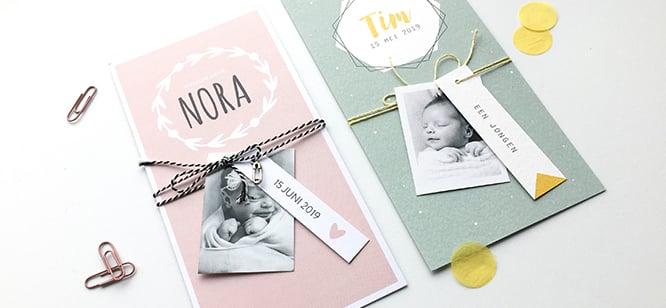 geboortekaartjes met labels