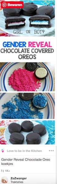 gender reveal chocolade oreo koekjes