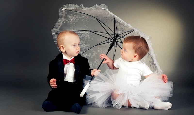 pasgeboren baby bruiloft