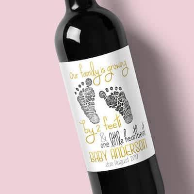 zwangerschap aankondigen wijnetiket